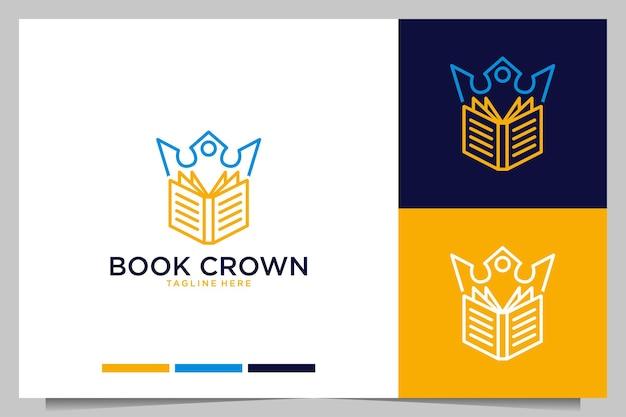 Modern book with crown logo design