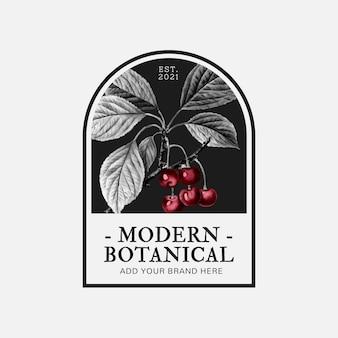 뷰티 브랜드에 대한 체리 삽화가 있는 현대적인 식물 비즈니스 배지 벡터