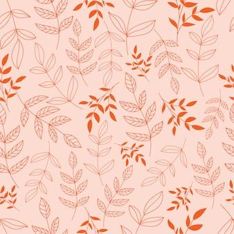 葉と花を持つモダンな植物のシームレスなパターン。