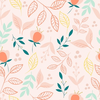 Modern botanical seamless pattern with leaves and flowers.