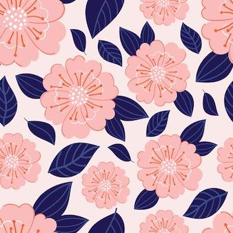 ピンクの花とモダンな植物のシームレスパターン