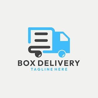 Современная доставка коробки с вектором логотипа грузовика