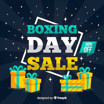 Modern boxing day composition with flat design
