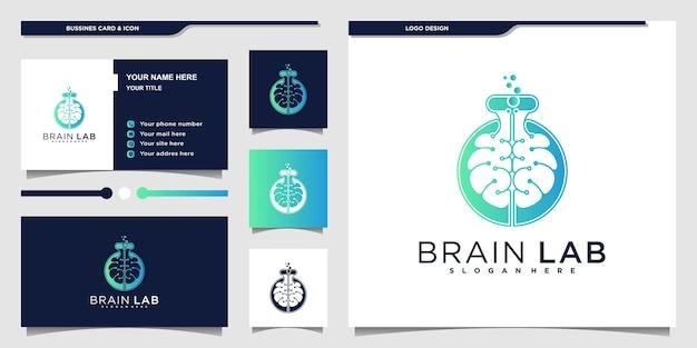 두뇌와 실험실 병 디자인 컨셉이 결합된 현대적인 두뇌 실험실 로고 디자인 premium vecto
