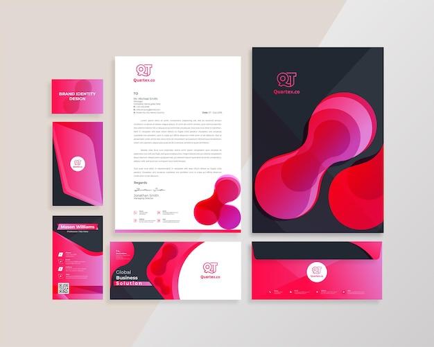 Дизайн шаблона канцелярских принадлежностей современного брендинга