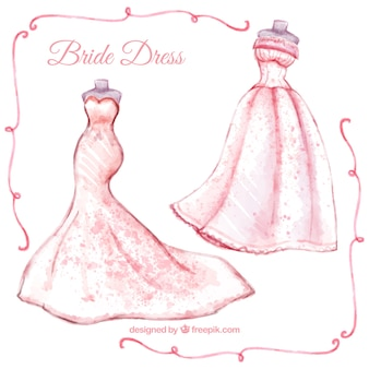 Modern bride dresses in watercolor