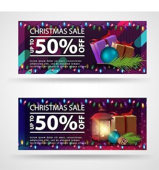 Modern, bright christmas banner template with bright background