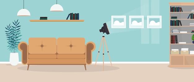 현대적인 밝은 객실입니다. 소파, 옷장, 램프, 그림이있는 거실. 가구. 내부. .