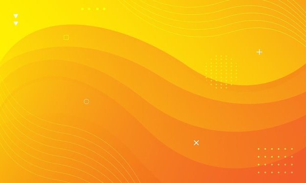 현대 밝은 노란색 웨이브 스타일 배경