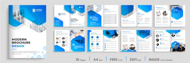 Modern brochure template design with blue gradient shapes, multi pages business brochure design.