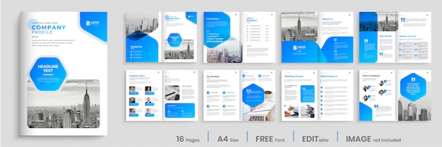 Modern brochure template design with blue gradient shapes, multi pages business brochure design