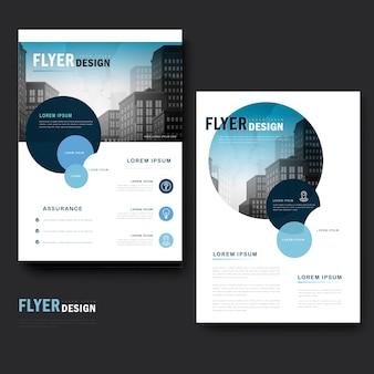 Modern brochure template design with city landscape and circle elements