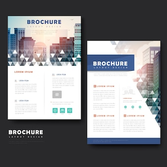 Modern brochure template design with city landscape and mosaic element