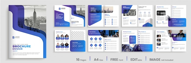 Modern brochure template design with gradient color shapes