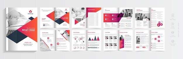Современный дизайн шаблона брошюры с красными градиентными формами, многостраничный дизайн бизнес-брошюры