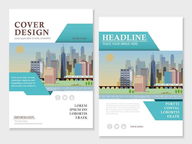 Modern brochure template design with urban landscape