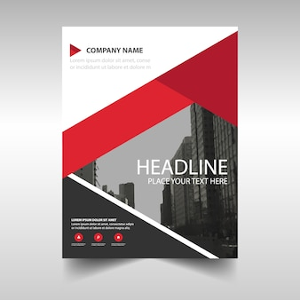 Modern brochure template with red geometric shapes