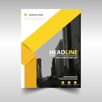 Modern brochure template with yellow geometric shapes