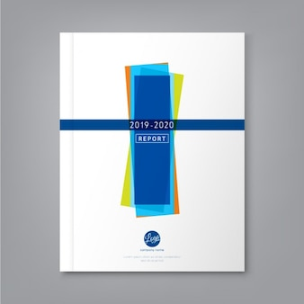 Modern brochure with blue, green and orange geometric shapes