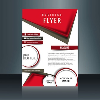 modern brochure with red geometric shapes