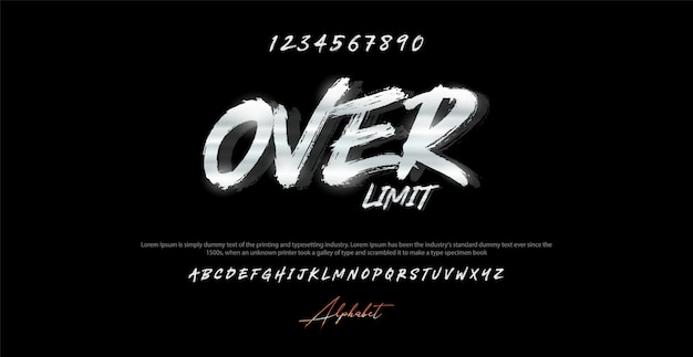 Modern brush alphabet font and number. typography urban style fonts