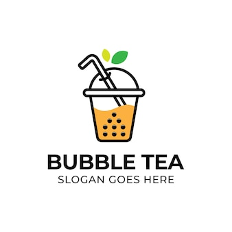 Modern bubble drink tea with leaf logo