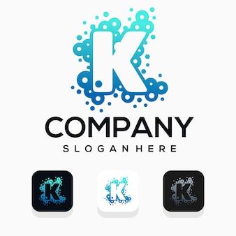 문자 k 로고 디자인이 있는 현대적인 거품