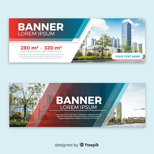 Modern building banners with photo