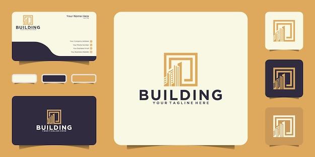 정사각형 프레임 및 명함 영감을 사용한 현대적인 건물 디자인 로고 영감