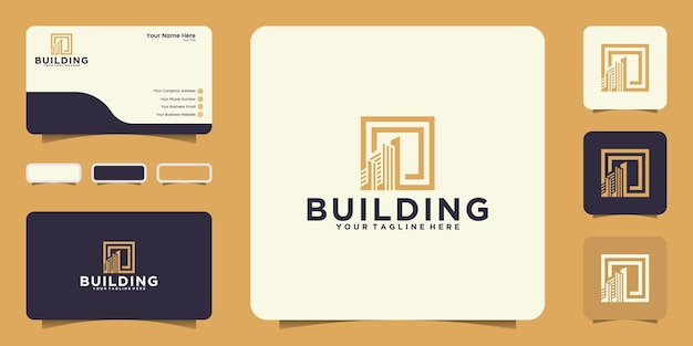 Modern building design logo inspiration with square frame and business card inspiration
