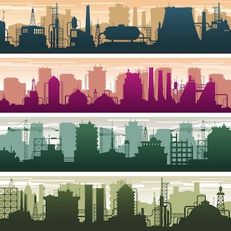 Modern building of gas and oil station, power plant and factory silhouettes. industry landscapes vector set