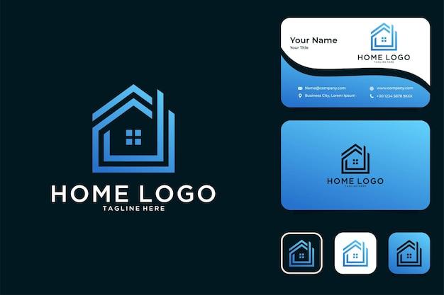 현대적인 건물 홈 로고 디자인 및 명함