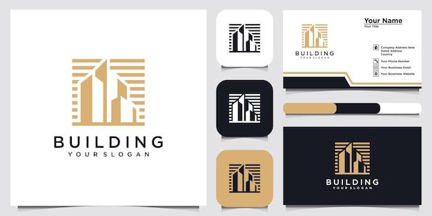Современное здание домашнего логотипа шаблон и дизайн визитной карточки