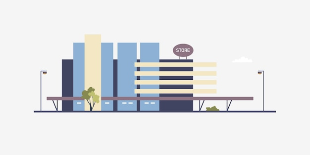 Modern building of megastore or shopping center built in contemporary architectural style. facade of big box store, supermarket or outlet shop. commercial real estate. flat vector illustration.