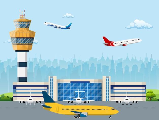 공항 터미널의 현대적인 건물