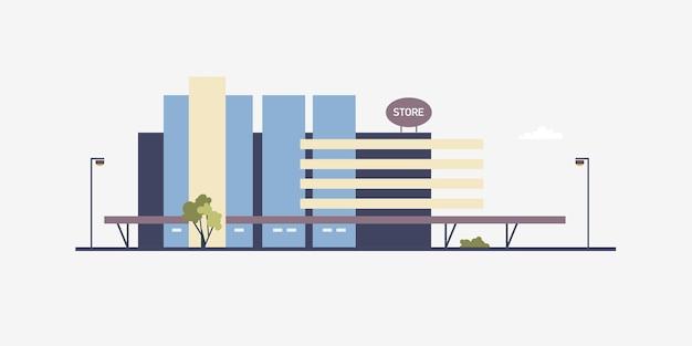Современное здание мегамагазина или торгового центра, построенное в современном архитектурном стиле. фасад большого магазина коробки, супермаркета или магазина аутлета. коммерческая недвижимость. плоские векторные иллюстрации.