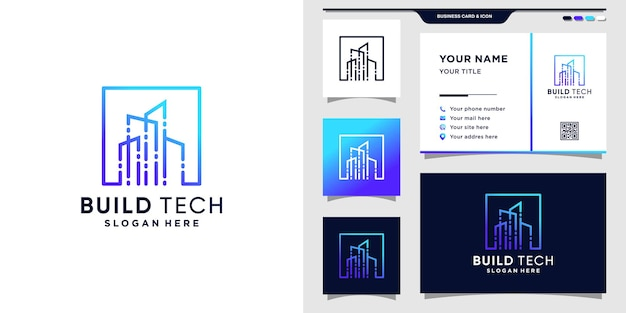 Modern building technology logo with line art style and business card design. inspiration logo for construction technology premium vector