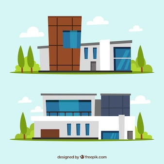 Modern buildings collection in flat design