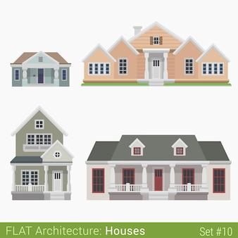 현대적인 건물 시골 교외 타운 하우스 교회 정부 시립 주택 세트 도시 요소 세련된 건축 부동산 부동산 컬렉션