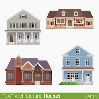 현대적인 건물 시골 교외 타운 하우스 별장 통나무 집 주택 세트 도시 요소 세련된 건축 부동산 부동산 컬렉션