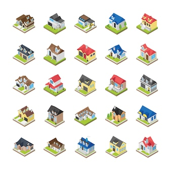 Modern buildings icons
