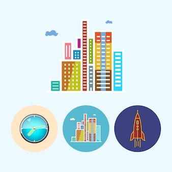 近代的な建物。 3つの丸いカラフルなアイコン、壁時計、色付きの時計、モダンな建物、ビジネスセンター、ロケット、ベクトルイラストを設定します。