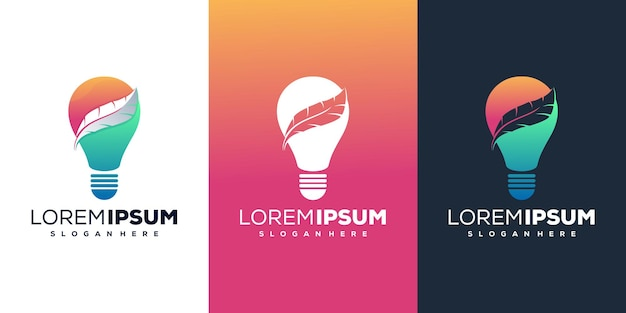 Modern bulb and feather logo template