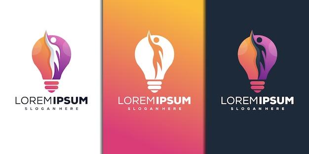 Modern bulb with human logo design