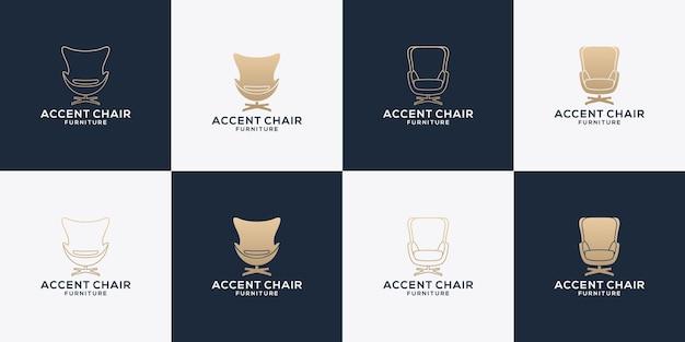 Modern bundle chair and sofa furniture logo design