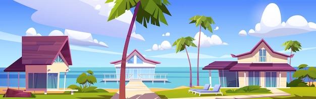 Modern bungalows on island resort beach