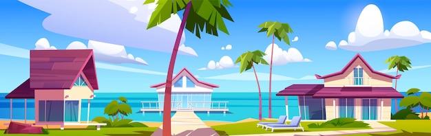 섬 리조트 해변에 현대적인 방갈로