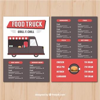 Modern burger food truck menu