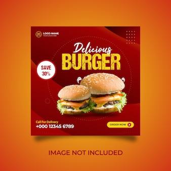 Modern burger menu food promotion social media banner template