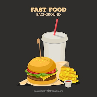 Modern burger restaurant composition